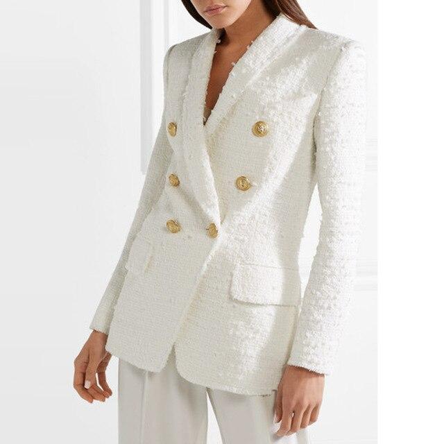Femmes blanc Tweed Blazer femmes Double boutonnage à manches longues manteau de bureau dame vestes décontractée Outwear