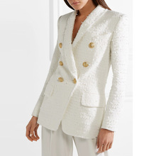 Women White Tweed Blazer Women Double Breasted Long Sleeve Office Coat Lady Casual Jackets Outwear white faux fur trim tweed blazer