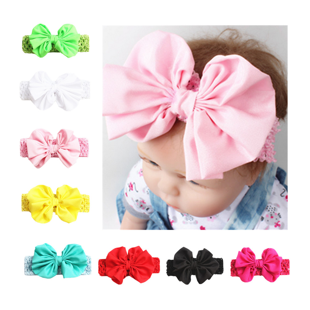 Brand new and high quality fashionable Baby Headband Toddler Infant Big Bow-knot Boutique Wide Hair Band Accessories