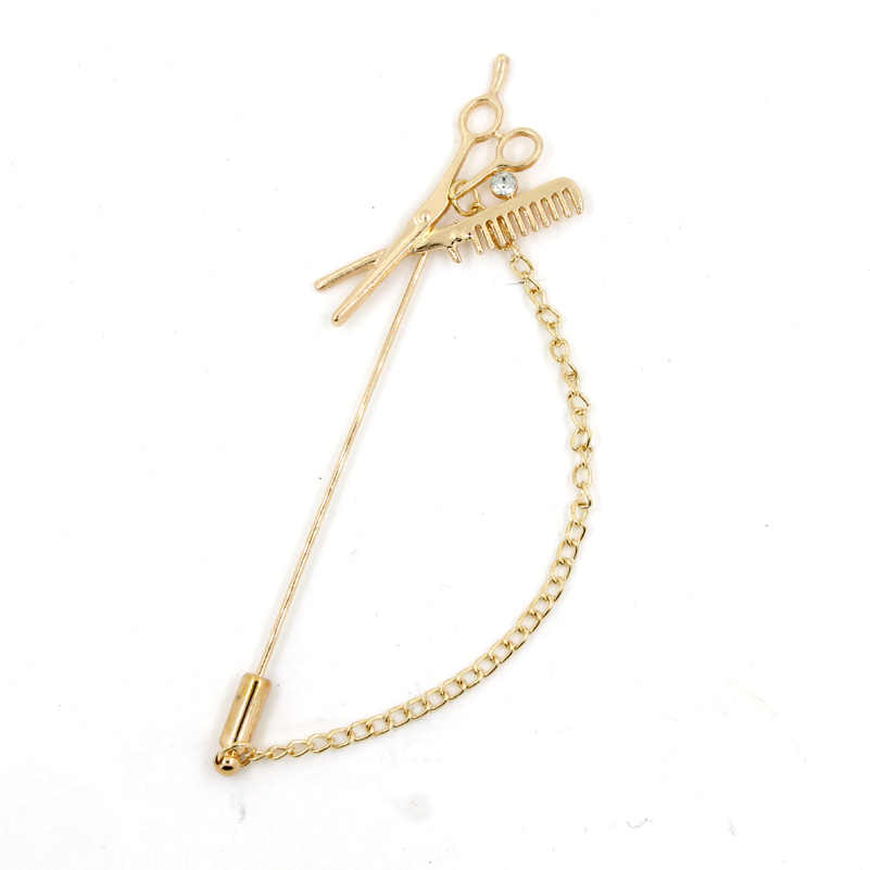 Unisex Gunting Rantai Kerah Pin Untuk Pria Jas Aksesoris Tongkat Bros Pin Wedding Party Jewelry