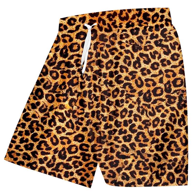 OGKB Shorts décontracté Homme nouveaux gymnases Animal 3D imprimer léopard Harajuku grande taille Shorts de plage Homme été pantalons courts en gros