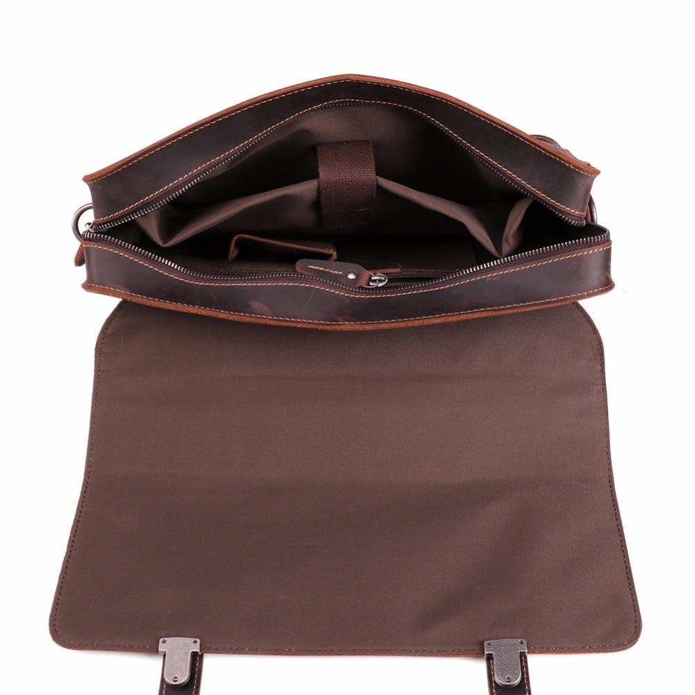 JOYIR Men's Briefcase Vintage Real Crazy Horse Leather Briefcase Messenger Shoulder Bag Men's Business Laptop Handbag For Male
