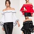2017 de diseño de moda de la mariposa mangas mujeres hombro sexy blusa del otoño del resorte mujeres volantes camisa de color negro blanco rojo