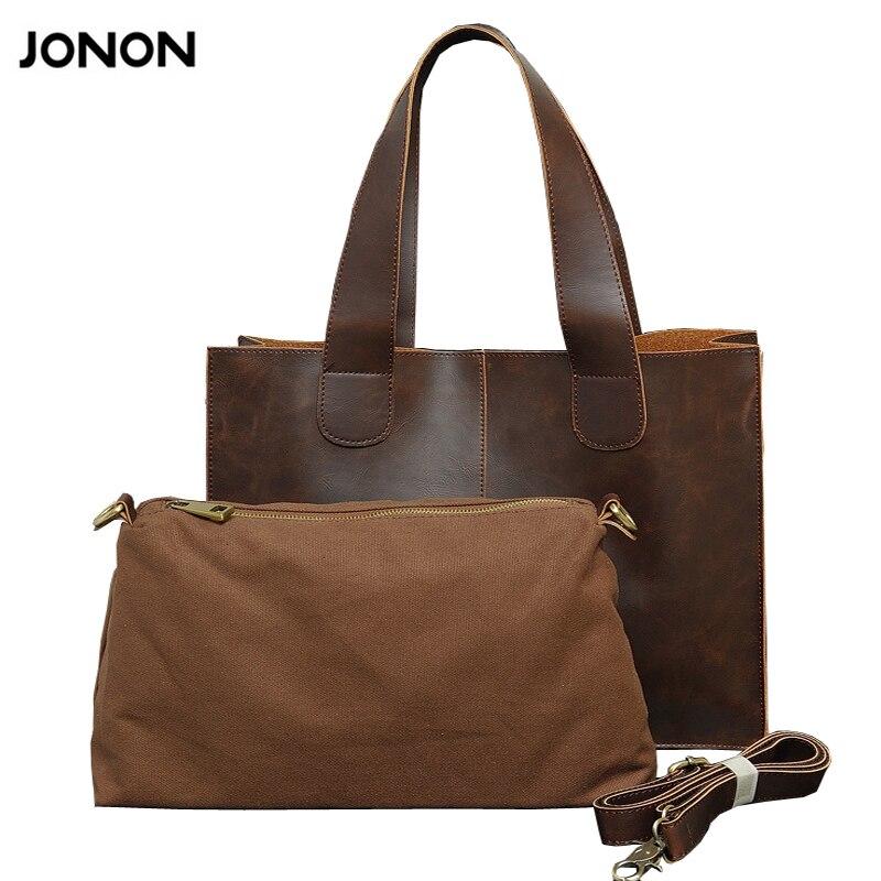 Jonon vintage donne composito borsa retrò pu crazy horse leather tote bag  grande borse della signora di spalla casuale delle donne crossbody bag ea631833b7b