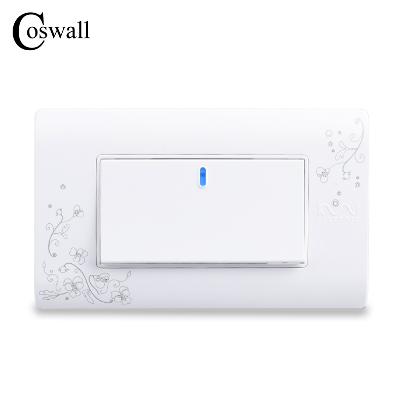 Купить со скидкой COSWALL Simple Style 1 Gang 2 Way On / Off Wall Switch Interruptor White Color Light Switch 114*70mm