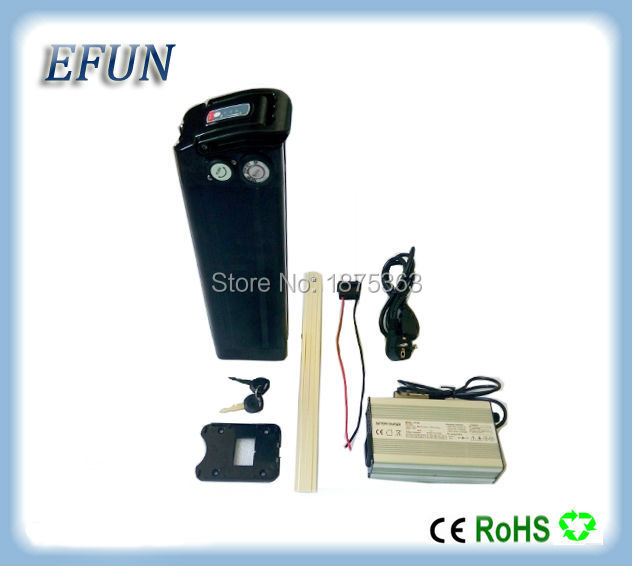 Free shipping Silver fish style 48V 11.6Ah Li-ion battery pack 18650 rechargeable battery for city bike with 54.6V charger free shipping 50a discharge rate lithium battery 48v 50ah 18650 rechargeable li ion battery pack with 2000w bms and charger