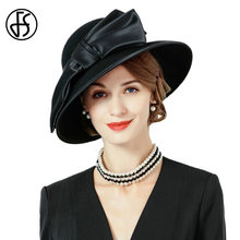 FS Preto Vintage Mulheres Inverno Fedora 100% Lã Australiana Cloche Chapéus  Feminino Aba Larga Chapéu de Feltro das Senhoras Bow. b73eafed7e7