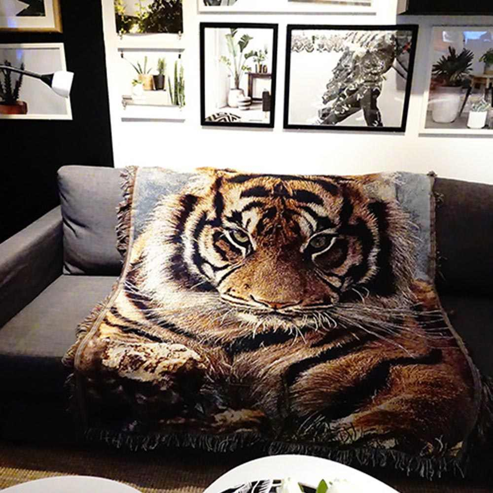 Nordic Knitting Leisure Throw Bed Sofa Bedspread Home Decoration 3D Tiger Hanging Wall Tapestry Couch Cover Car Travel Blankets