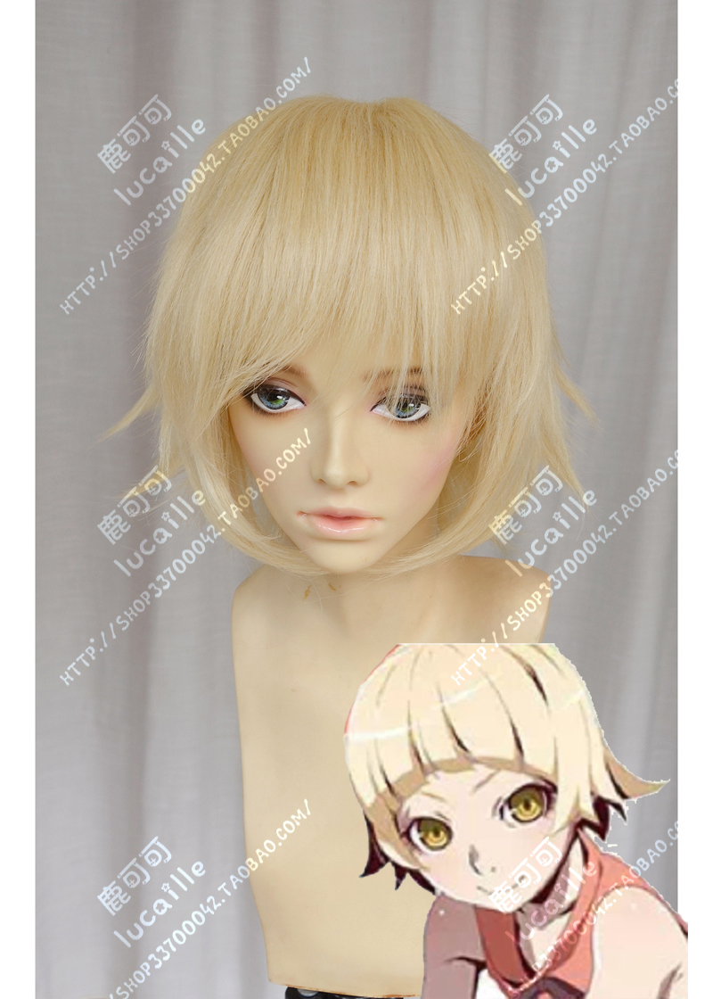 Anime Monogatari Series Oshino Shinobu Cosplay Wig Short Pale Gold Linen Heat Resistant Synthetic Hair Wigs + Wig Cap