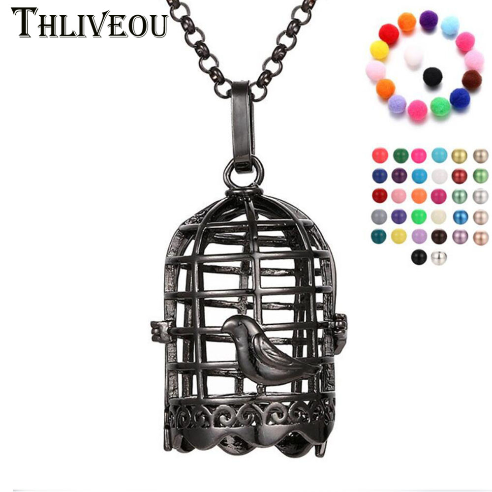 THLIVEOU Gun Black Bird Cage Angel Ball Bola Pendant Necklace Women Essential Oil Diffuser Fashion Jewelry Finding