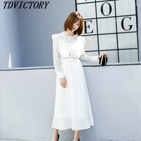 2019 Spring New High quality luxury runway O neck Lace Patchwork Bohemian Holiday Long dress white women party dress vestidos