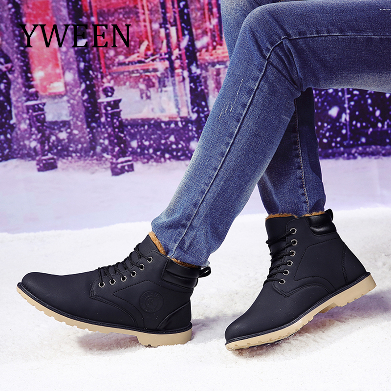 YWEEW Autumn Winter Boots Men Leather Boots High Style Outdoor Shoes Thick Fur Men's Boot mulinsen latest lifestyle 2017 autumn winter men