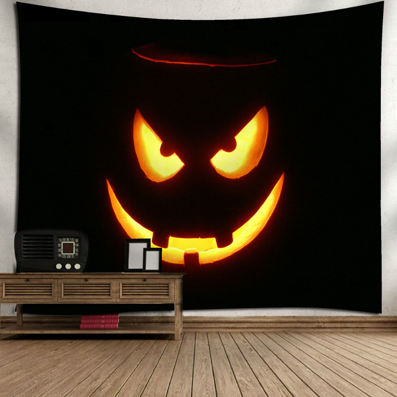 Enipate Rectangle Halloween Gothic Wall Hanging Tapestry Home Devil Pumpkin Print Outdoor Table Floor Covers Festival Bedroom