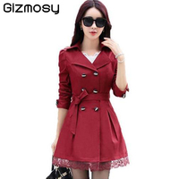 1 PC Lace Trench Coat Spring Autumn New Long Turn Down Collar Plus Size Double Breasted