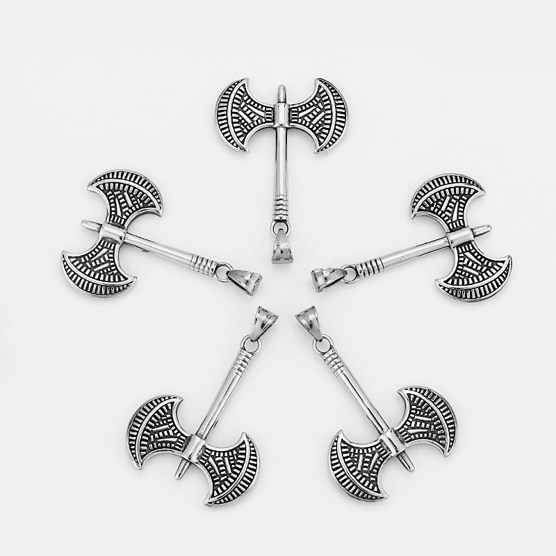 1PCS Stainless Steel Double Ax/Axe Charms Pendants DIY Jewellery Making 48x39mm