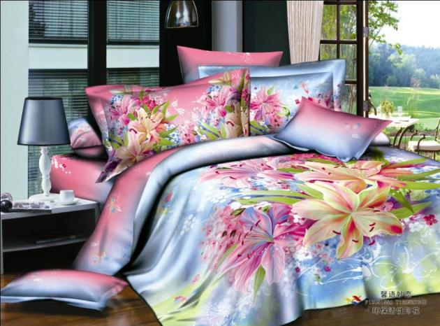 Blue Pink Purple Floral Bedding Set Queen Full Duvet Cover