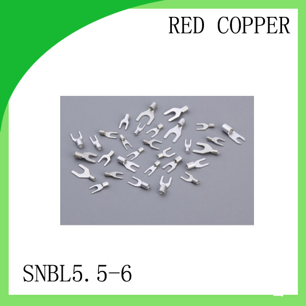 цена на High Quailty Red copper 1000 PCS SNBL5.5-6 Cold Pressed Terminal Connector 12AWG - 10AWG Fork Type terminal