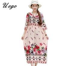 Uego Thin Light Soft Cotton Linen Loose Summer Beach Casual Dress Fashion Print Floral Vintage Prairie Chic Dress Women Dress