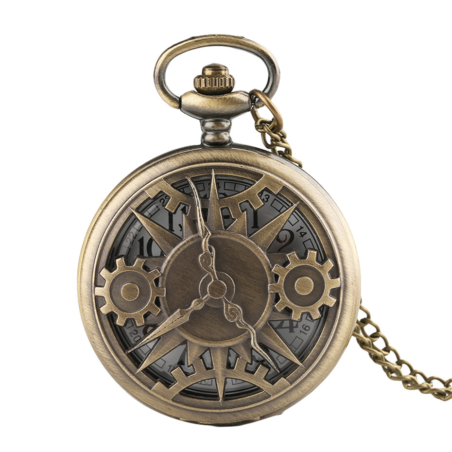 Bronze Hollow Gearwheel Design Quartz Pocket Watch Unisex Fashion Arabic Numerals Men Watches Necklace Pendant Male Clock Gifts