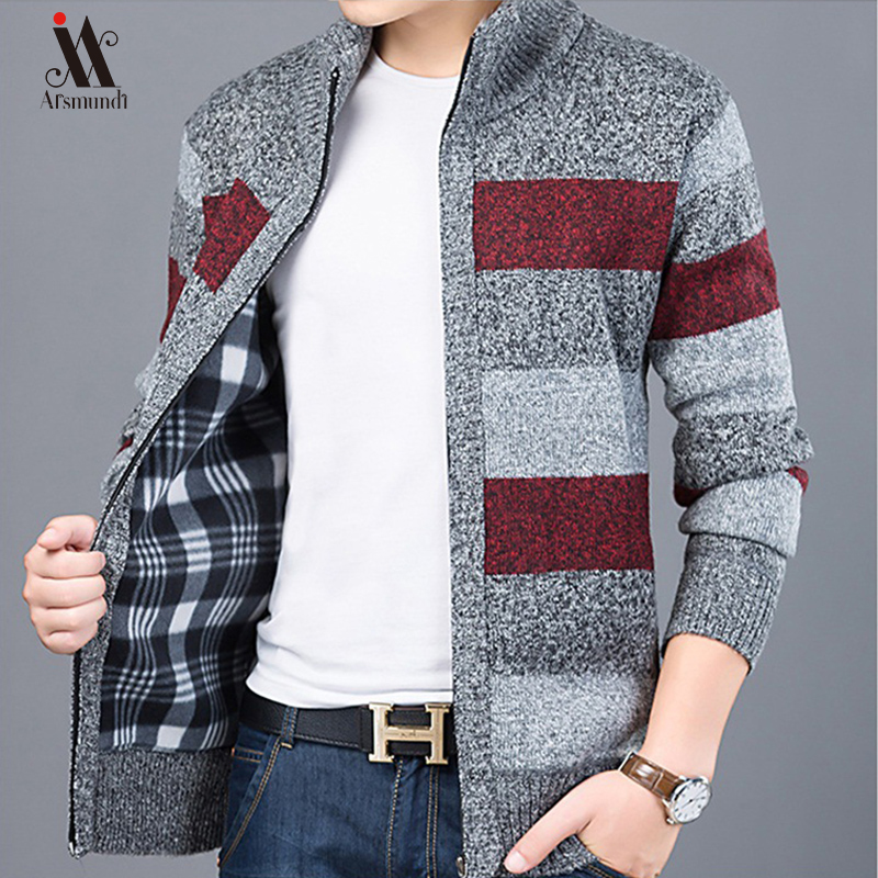Thick New Fashion Brand Sweater For Mens Cardigan Slim Fit Jumpers Knitwear Warm Autumn Korean Style Casual Clothing Male 2019