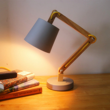 Loft nuevo de madera moderna leer lámpara de mesa de madera maciza de época moderna lámpara de escritorio lámpara de estudio americano de luz blanco cálido brazo oscilante lámpara de noche