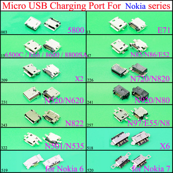 YuXi Micro USB Jack Connector socket Data charging port,tail plug For Nokia 6/7 5800 E71 E66 N85 N86 E52 X2 N720 N620 N80 N8 X6 image