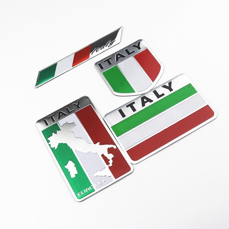 3D Aluminum Car Italian Italy Map National Flag Sticker Emblem Decal For Toyota Opel Peugeot Nissan Jeep Alfa Romeo Dacia Audi