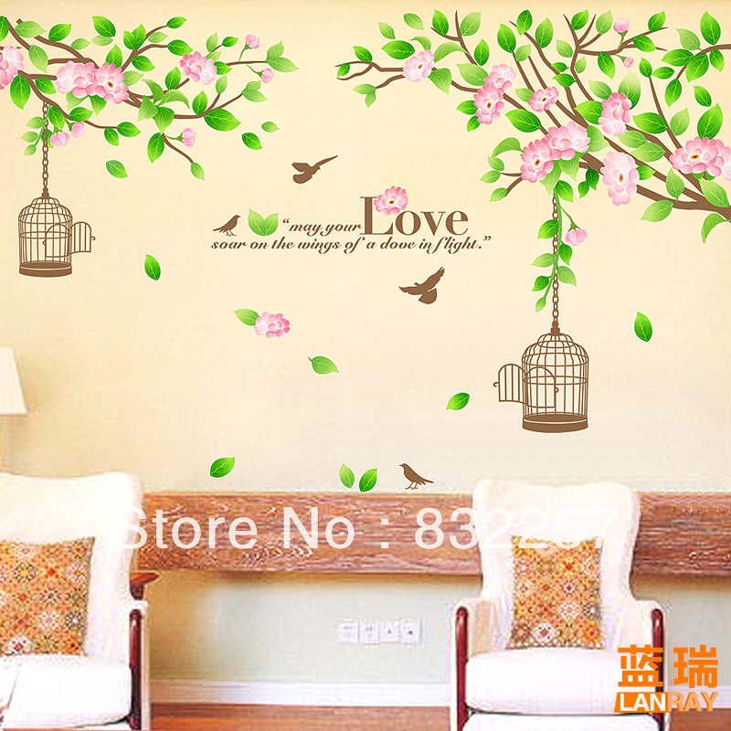 Furnishings Wall Sticker Sofa Background Decoration Wall Sticker Room  Decoration Flower Girl Wall Sticker Family Tree Wall Decal In Wall Stickers  From Home ...