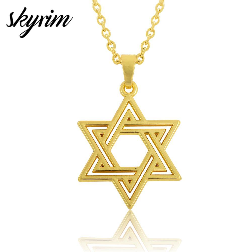 Skyrim Fashion Necklace Jewelry Gift Lobster Clasp Link Chain Pendant Necklace Jewish Symbol Star Of David Religious Pendant
