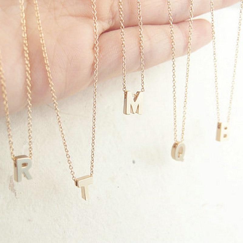 Inicial personalizada collar de cadena del oro iniciales del monograma collar ke