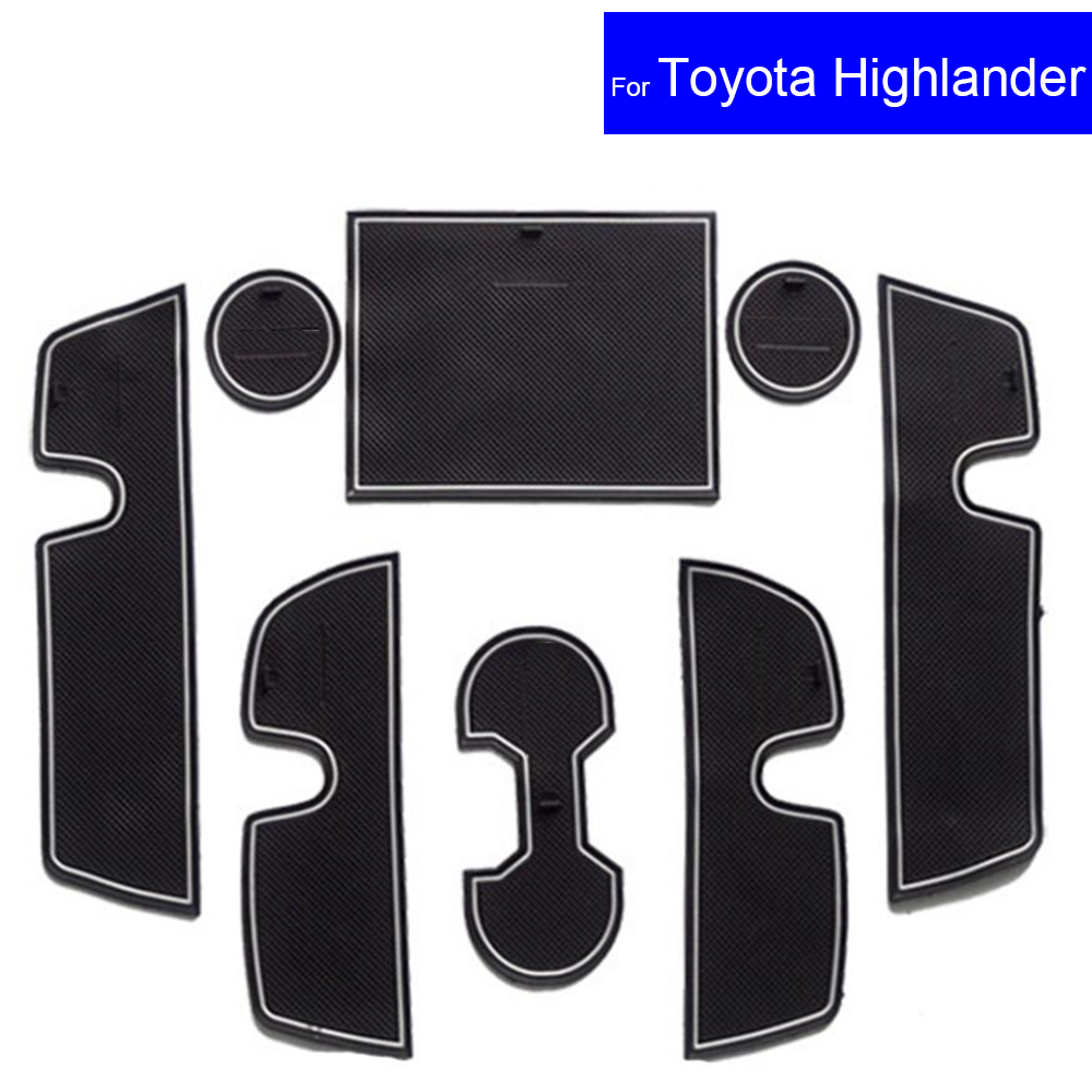 Non-slip Car Door Gate Slot Mats Carpets Position Cup Holder Pads For Toyota Highlander 2009 2010 2011 2012 2013 Door Groove Mat