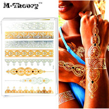 M-theory Gold Metallic Temporary Tatoos Body Arts Makeup Lace Flash Tattoos Sticker 21x15cm Tatuagem Dress Swimsuit Makeup Tools