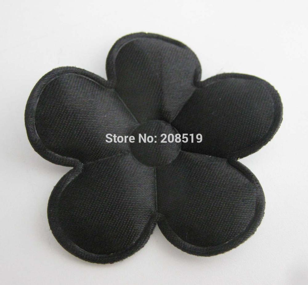 PANVGG 47 мм Цветочные аппликации 12 видов цветов DIY Скрапбукинг Цветочные нашивки 120 шт. головные уборы цветочный орнамент войлочный - Цвет: black 47mm