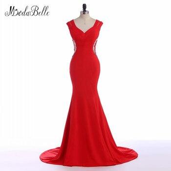 638c75b48 Modabelle impresionante Vestidos de noche rojo sirena satinado mujeres  vestidos de noche backless sexy elegante damas vestido 2017