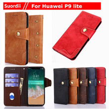 5.2 Inch For Huawei P9 Lite Coque Case Luxury Rivet Leather Wallet Flip Cover For Huwawei P9 Lite Mobile Phone Bags Cases