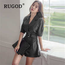 RUGOD 2019 new fashion playsuit waist slim office casual jumpsuit summer belt lapel macacão feminino