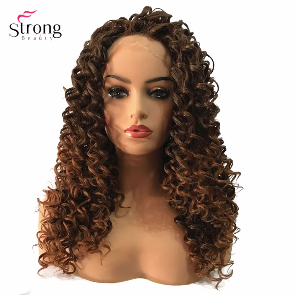 StrongBeauty Lace Front Wigs Brown/Black Long Sassy Curly Hair Hairpiece Synthetic Heat Resistant Fiber