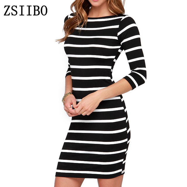 black and white stripes long sleeves Slim plus size casual dress 1