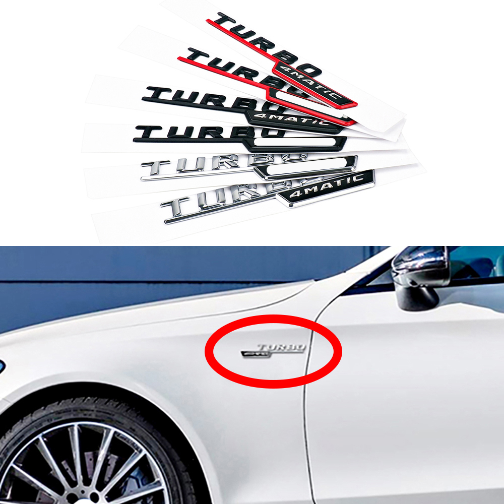 1-20 Pair For AMG 4MATIC TURBO Emblem Logo Side Fender Sticker For Mercedes Benz C200 CLS CLK C207 <font><b>W205</b></font> C117 C230 C220 <font><b>C300</b></font> C320 image