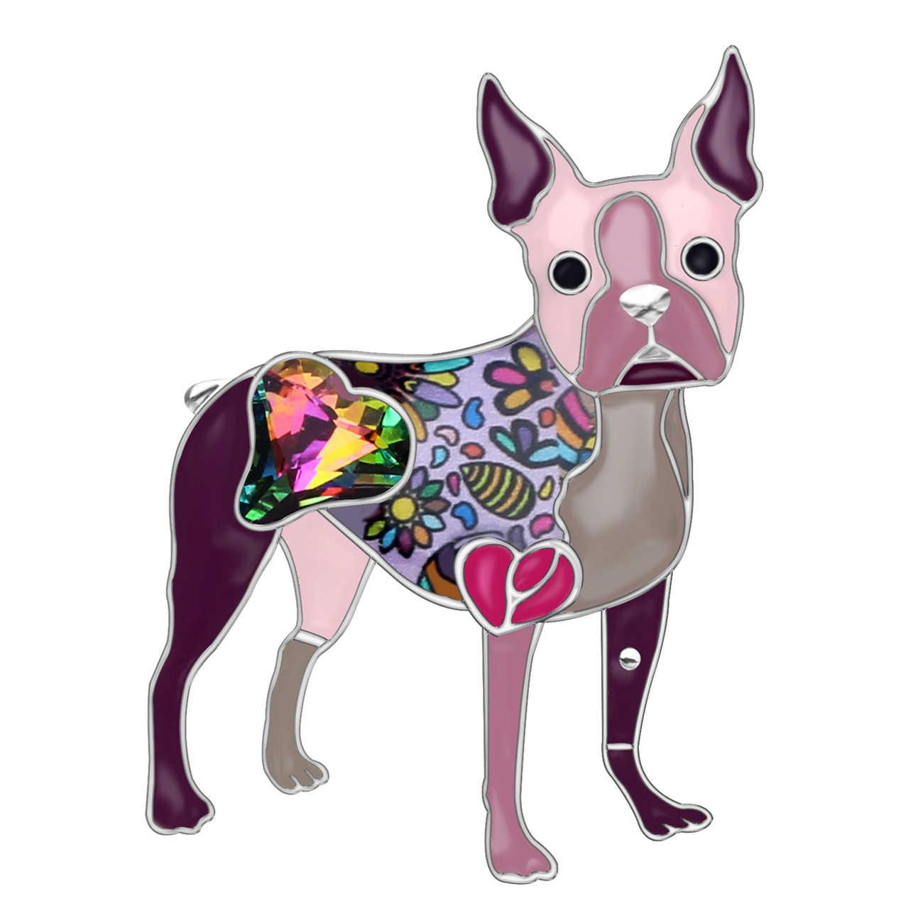 WEVENI エナメル合金ラインストーンボストンテリア犬ブローチピンかわいい動物ジュエリー女性ガールズギフトスカーフ装飾ビジュー