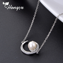 Hongye Quality Zircon Moon Sterling Silver Necklace Modern Design Girls Shell Pearl Neck Chains 925 Silver Jewelry Long Necklace
