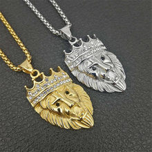 Mens Hip Hop Iced Out Bling Gold สี Crown Lion Head จี้สร้อยคอสแตน(China)