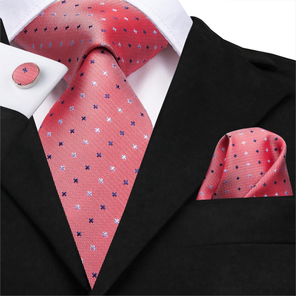 SN-3118 Hi-Tie 8.5cm 100% Silk Men's Necktie Coral Pink Dot Ties For Men Classic Party Wedding Hanky Cufflinks Fashion Tie Set