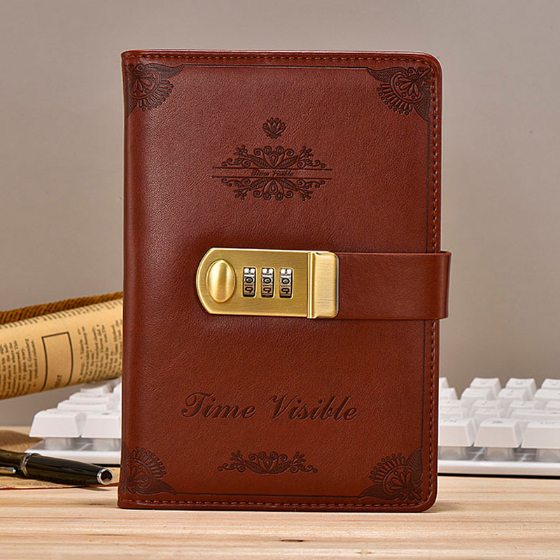 NEW Vintage Notebook leather Diary book with lock code password thickened creative notepad 130 sheets office supplies gift new vintage notebook diary with lock code creative trends stationery products notepad 100 sheets paper office school supplies