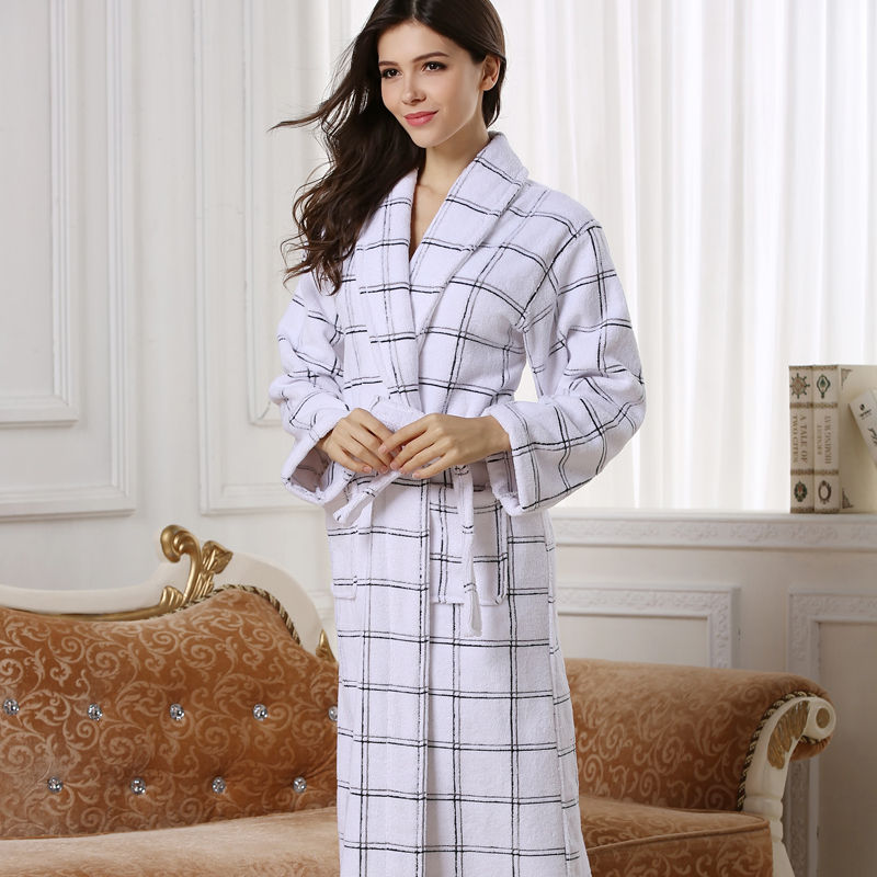 White Color Women Cotton Robe, Long Warm Women Terry Robe -4118