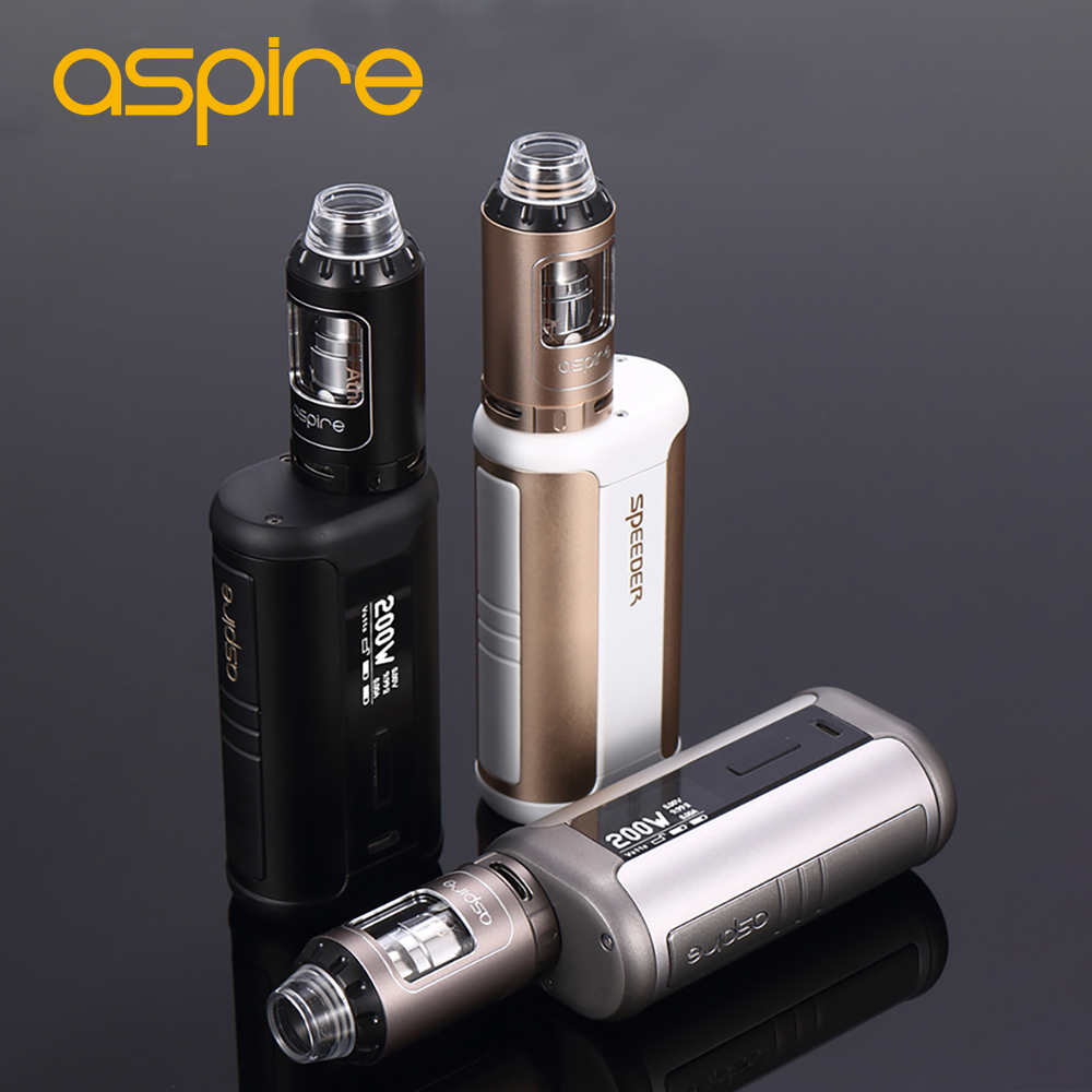 100% Original Aspire Speeder TC Vape Kit 200W with Speeder Box MOD and 4ml Athos Tank Atomizer Support VW/VV/Bypass/TC Modes original ijoy captain pd1865 tc 225w kit captain tank 4ml atomizer no 18650 battery captain pd1865 mod e cigarette vaping kit