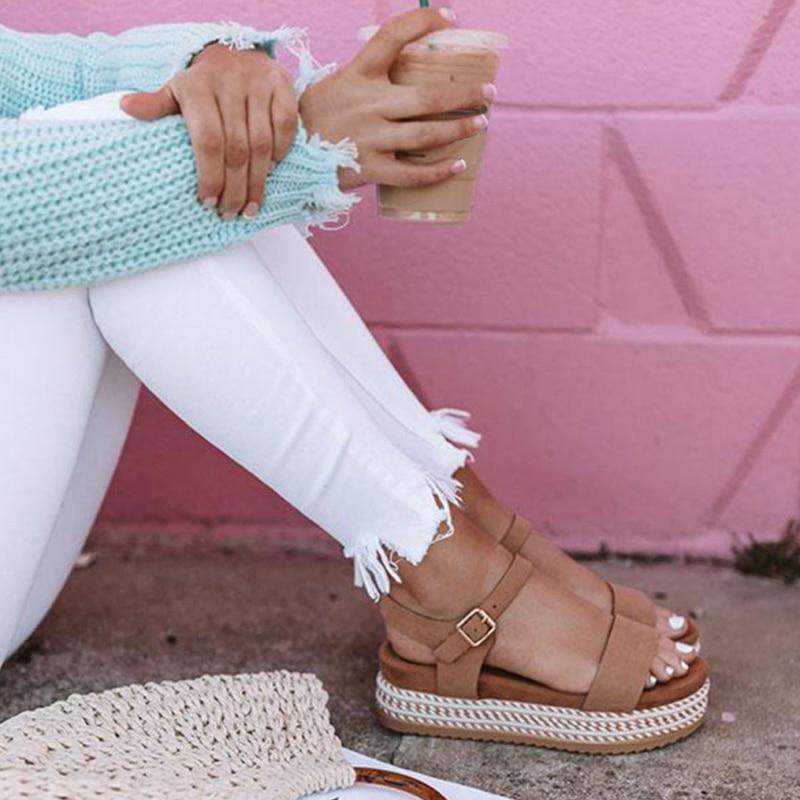 Women Shoes Platform Sandals Straw Thick Bottom Ladies Sandals Peep Toe Beach Sandals Flat Belt Buckle Summer Shoes Woman
