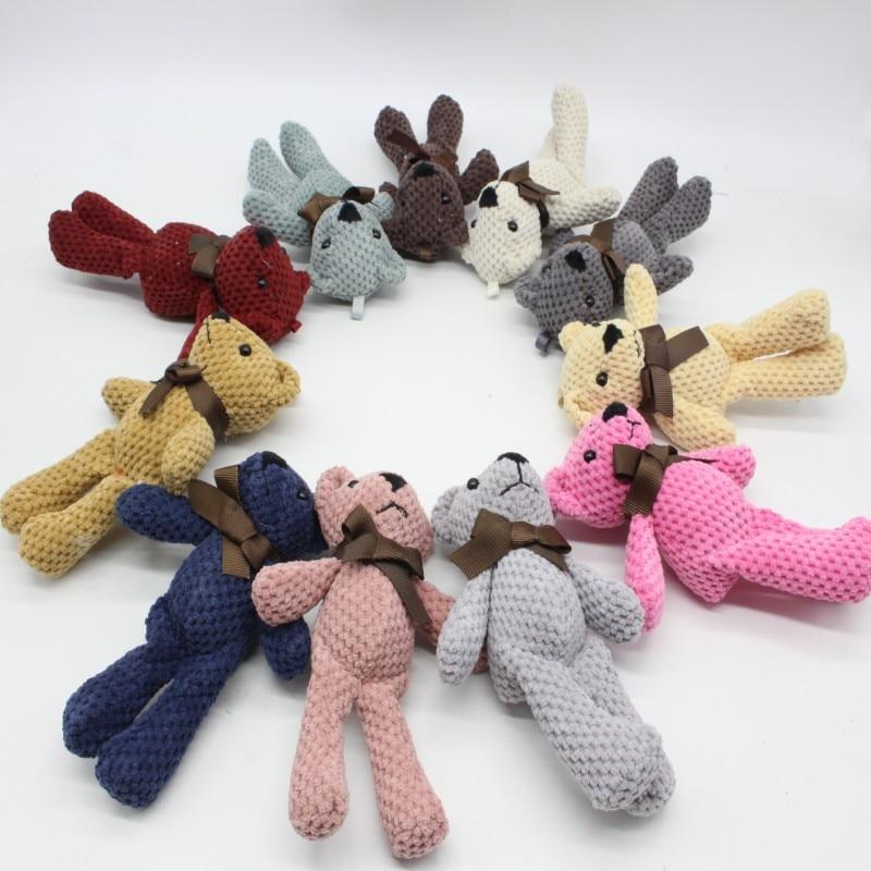 14CM Mini Teddy Bear Stuffed Plush Toys Cute White Teddy Bears Pendant Dolls Gifts Birthday Wedding Party Decor