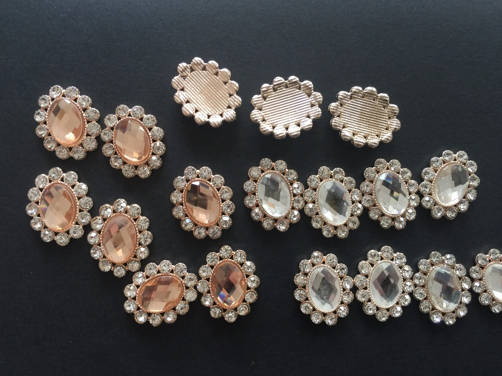 10pcs 25 20MM Brooch Embellishment Rhinestone Pearl Buttons 00992beee3ce