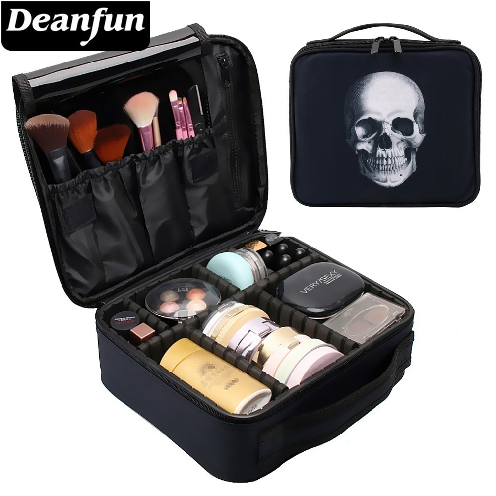 Deanfun Skull Makeup Case Portable Cosmetic Bag Black Train Cases with Adjustable Dividers Travel Organizer 16002-in Cosmetic Bags & Cases from Luggage & Bags